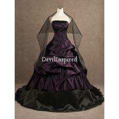 black wedding dresses | Black and Purple Strapless Gothic Wedding Dress – £185
