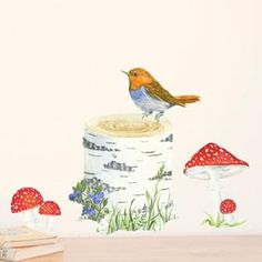 Wall stickers part of the magical, highly detailed watercolour Woodland collection. This set includes the following elements : trunk, bird, toadstools. Each ele
