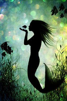 ♥ Mermaid Shadow Figure in the Ocean. Fantasy Art.