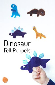 An easy tutorial for dinosaur felt finger puppets with a free pattern - a fun and simple kids craft! www.createinthechaos.com