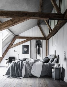 A dreamy grey home! You'll love the bedroom (Daily Dream Decor) is part of home Style Grey - photos by Sjoerd Eickmans via vtwonen nl The post A dreamy grey home! You'll love the bedroom appeared first on Daily Dream Minimalist Furniture, Minimalist Home Decor, Minimalist Bedroom, Home Bedroom, Bedroom Furniture, Attic Bedrooms, Blue Gray Bedroom, Grey Bedroom Decor, Gravity Home