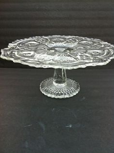 """Gorgeous vintage cut glass footed cake, cupcake or food serving plate. Beautiful condition. Measures approx. 11"""" in diameter and 5.25"""" tall. Great bridal shower gift, housewarming gift."""