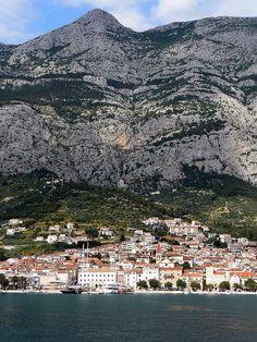 Makarska at the foot of Biokovo mountain, Croatia