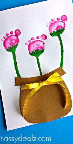 Flower Pot Craft using Kid's Footprints - Sassy Dealz