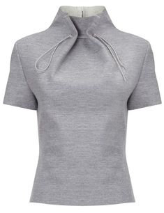 Lee Grey Wool Gathered Neck Top and other apparel, accessories and trends. Browse and shop related looks. Fashion Details, Look Fashion, Diy Fashion, Ideias Fashion, Fashion Design, Origami Fashion, Short Sleeve Collared Shirts, Collar Shirts, Collar Blouse
