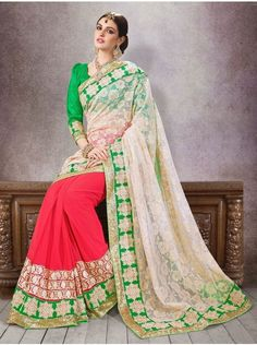 Buy White Net Jacquard Saree With Zari Work Online - Saree.com