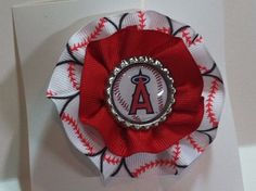 Angels Baseball Hair Bow by stampwab on Etsy, $6.00
