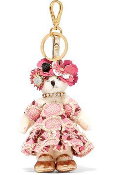 2215dbdb6d1840 Prada - Embellished jacquard and faux fur keychain. Fur KeychainLeather  FlowersKey FobsPradaBling PursesPurse StrapKey ChainsPink ...