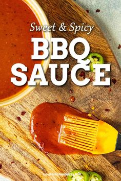 Sweet and Spicy BBQ Sauce - This bbq sauce recipe is the perfect combination of sweet and spicy with jalapeno peppers, bourbon and honey. It's tangy and flavorful and great on anything. Fire up the grill! Hot Bbq Sauce Recipe, Sweet And Spicy Bbq Sauce Recipe, Honey Barbeque Sauce, Bbq Rub Recipe, Homemade Bbq Sauce Recipe, Barbecue Sauce Recipes, Honey Bbq, Bbq Sauces, Spicy Sauce