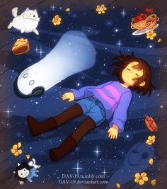 1girl androgynous annoying_dog artist_name bone boots brown_boots brown_hair buttons closed_eyes dav-19 denim denim_shorts dog empty_eyes floating_hair flower food frisk_(undertale) full_body ghost headphones hot_dog knee_boots long_sleeves lying mouth_hold napstablook o_o on_back pantyhose pasta purple_shirt shirt short_hair shorts sleeping slice_of_cake spaghetti sparkle temmie undertale w.d._gaster watermark web_address white_fur wooden_floor