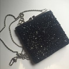 Black Sequin Evening Bag Black sequin stitched evening bag with silver tone metal trim and shoulder chain. Nice large opening. Never used. La Regale Bags Mini Bags