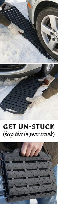 Nifty trick to get your stuck car out of the snow.