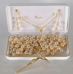 Pearl Lasso Wedding Rosary with Gold Tone Accents--GORGEOUS