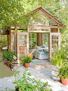 Awesome! $400 Garden Retreat made mostly from repurposed materials download plans at bhg.com/gardenhut Backyard Gazebo, Backyard Studio, Garden Studio, Pergola Garden, Pergola Canopy, Backyard Sheds, Contemporary Interior Doors, Double Doors Interior, Shed Colours