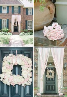Pink white baby shower baby girl candy bar party ideas for Baby shower front door decoration ideas