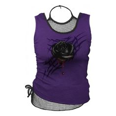 Spiral Direct Black Rose Dew 2 in 1 Mesh Vest Top Purple ($16) ❤ liked on Polyvore featuring tops, tank tops, halter tank top, mesh tank, tattoo tank tops, purple necktie and purple halter top