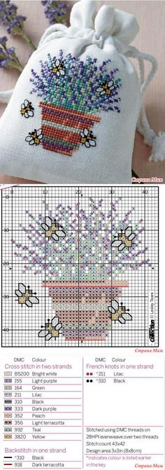 Punto De Cruz Sachet 'Lavander bag' - Biskornyu y otros 'кривульки' - el País de las Mamás - Саше 'Lavander bag' - Бискорню и другие 'кривульки' - Страна Мам Cross Stitch Bookmarks, Mini Cross Stitch, Cross Stitch Needles, Cross Stitch Cards, Cross Stitch Flowers, Counted Cross Stitch Patterns, Cross Stitch Designs, Cross Stitching, Cross Stitch Embroidery