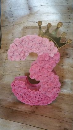Number 3 piñata Gold and pink pinata Gold by HeidiPartyCreations