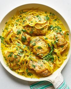 This creamy one-skillet chicken dinner gets a double dose of vibrant turmeric and is finished with a lush sauce.