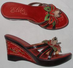 NEW womens CORKY'S ELITE Waco sandals red LEATHER wedge 8 gorgeous shoes