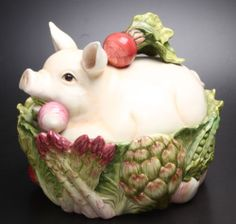 Fitz and Floyd Classics Covered Dish Decorated with Pig and Vegetables | eBay