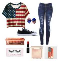 """Patriotic casual"" by victoriapond on Polyvore featuring WithChic, Converse, Natalie B, Smashbox, Urban Decay, Boohoo and Jouer"