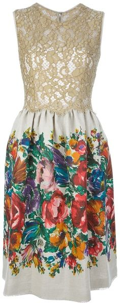 DOLCE GABBANA Floral Print and Lace Dress - Lyst