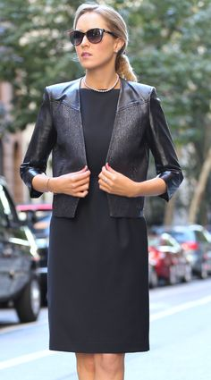 The Classy Cubicle: Back in Black. The fashion blog for professional women in need of office style inspiration and work wear ideas for the corporate world and beyond. {helmut lang, j. crew, escada, ralph lauren, metallic leather sleeve jacket blazer, silver, black sheath dress, pointed leather pumps, cat eye sunglasses}