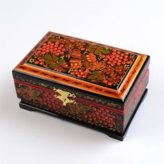 Bird & Berries Russian Box $78.99 - Khokhloma Lacquer Jewelry Box