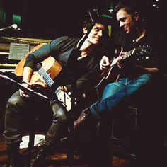 Ramin Karimloo and Hadley Fraser recording with their band The Sheytoons