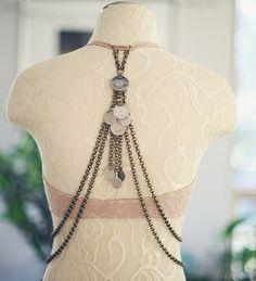 The Calliope Back Drape - Art Deco Upper Back Bra Drape / Hip Drape - Antique Bronze or Silver