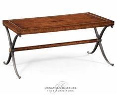 Hammered iron rectangle coffee table Satinwood necktie coffee table  #hpmkt #jcfurniture #jonathancharles #Furniture #InteriorDesign #decorex #Anvil