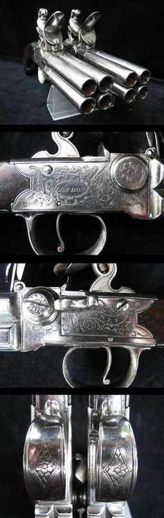"Exceptionally Rare Pair of 4 Barrelled Flintlock Pistols In Fine Condition By ""Bunney of London"", Circa 1780."