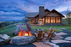 Big Stones around a fire pit, perfecto!