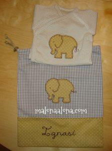 baby bag and onesie with an elephant for new born, bolsita de bebe con elefante y body a juego para recién nacido, www.malonaalona.com