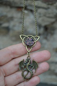 Absolutely magical celtic dragon with purple druzy stone necklace by Valkyrie´s Song