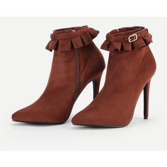 Ruffle Cuff Stiletto Boots (45 BAM) ❤ liked on Polyvore featuring shoes, boots, stiletto high heel shoes, stilettos shoes, high heel stilettos, stiletto heel boots and stiletto heel shoes