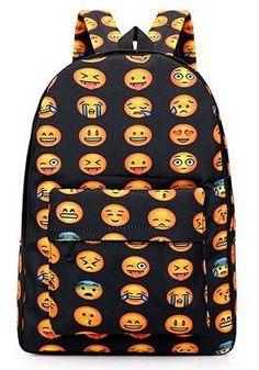 b141f07545ff 2016 Pretty Style Women Canvas Backpacks Smiley Emoji Face Printing School  Bag For Teenagers Girls Shoulder Bag Mochila Feminina
