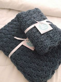 Crochet Baby Blanket - Gift Set - Country Blue - Boy. $75.00, via Etsy.- simply gorgeous!