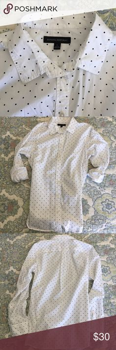 """Banana Republic Polka Dot Button-Up Adorable polka dot button up. Worn once, just a little small in the bust for me. No rips, stains or flaws. Bust 21"""" laying flat and 28"""" shoulder to hem Banana Republic Tops Button Down Shirts"""