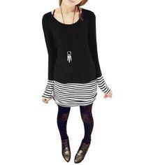 Allegra K Women Scoop Neck Striped Cuff Long Sleeve Tunic Shirt Black XS Allegra K, http://www.amazon.com/gp/product/B007WA43PE/ref=cm_sw_r_pi_alp_nfGGqb0WW11V7