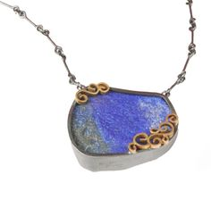 Lapis Pendant by Natasha Wozniak. Made with deep blue lapis of Afghanistan. A custom and one of a kind necklace.