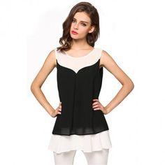 Ladies Women Fashion Chiffon Sleeveless Patchwork Vest Casual Beach Loose Tank Tops