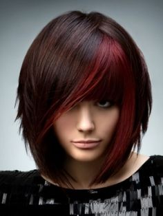 Short brown hair with red streaks