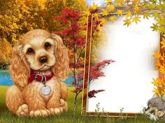 Fall Style Kids Transparen PNG Photo Frame with Cute Puppy