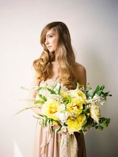 Honey of a Thousand Flowers  Spring peony bouquet by Sarah Winward Photo by Jessica Peterson, hair by Aubrey Nelson Modeling by Karley Parker
