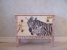 Pieces Custom Hand Painted Furniture > Classic 2 Drawer Chest-Zoe Zebra