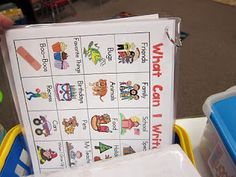 Monthly word sheets in a sheet protector added to the writing station...what a fantastic idea!!