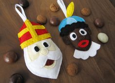 Felt Sinterklaas en Zwarte Piet