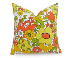 Image result for orange and yellow retro floral cushion covers